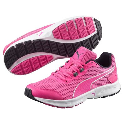 Puma Descendant v4 Ladies Running Shoes-Pink-Silver-Image