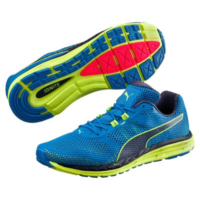 Puma Speed 500 Ignite Mens Running Shoes-Blue-Yellow-Main Image