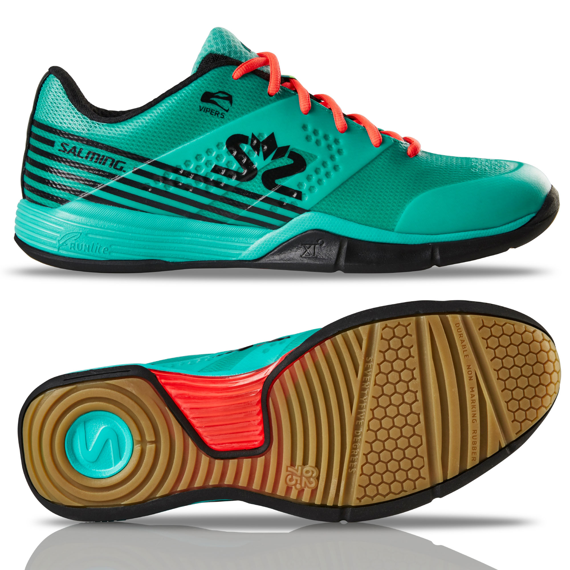 Salming Viper 5 Mens Indoor Court Shoes - Turquoise, 8.5 UK