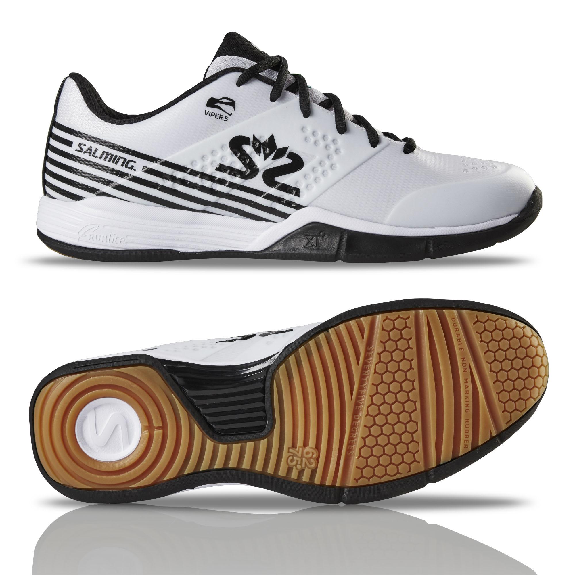Salming Viper 5 Mens Indoor Court Shoes - White/ Black, 7 UK