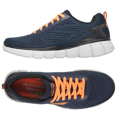 Skechers Equalizer 2.0 Settle the score Mens Walking Shoes-Navy-Orange-Additional