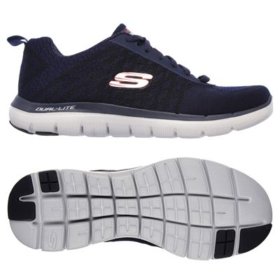 Skechers Flex Advantage 2.0 Golden Point Mens Walking Shoes-Navy/Red