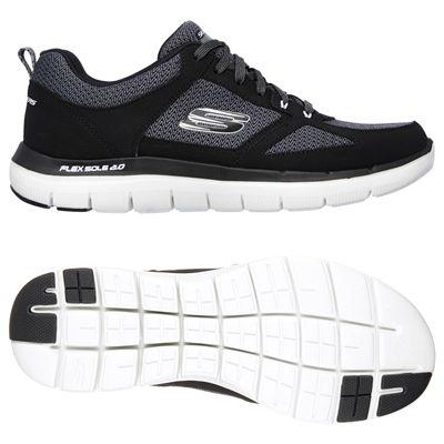 Skechers Flex Advantage 2.0 Mens Running Shoes-Black-White