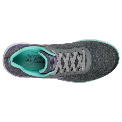 Skechers Flex Appeal 3.0 Fan Craze Ladies Training Shoes - Grey - Above