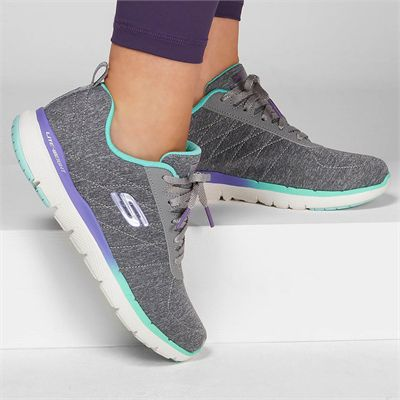Skechers Flex Appeal 3.0 Fan Craze Ladies Training Shoes - Grey - In Use
