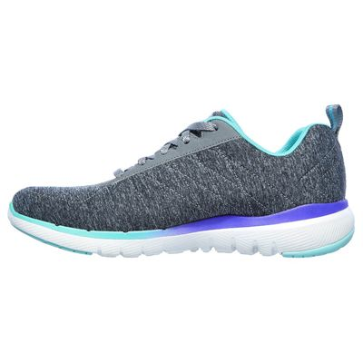 Skechers Flex Appeal 3.0 Fan Craze Ladies Training Shoes - Grey - Side