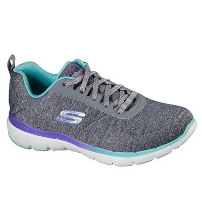 Skechers Flex Appeal 3.0 Fan Craze Ladies Training Shoes - Grey - Slant