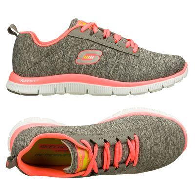 Skechers Sport Flex Appeal Next Gen Ladies Running Shoes-Gray-Pink-Alternative View