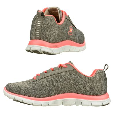 Skechers Sport Flex Appeal Next Gen Ladies Running Shoes-Gray-Pink-Images