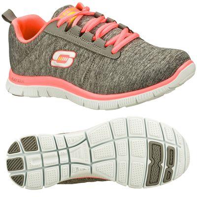 Skechers Sport Flex Appeal Next Gen Ladies Running Shoes-Gray-Pink-Main Image
