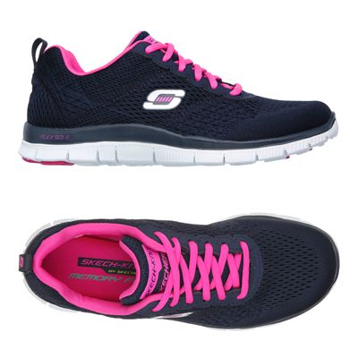Skechers Sport Flex Appeal Obvious Choice Ladies Running Shoes-Navy-Pink-Alternative View