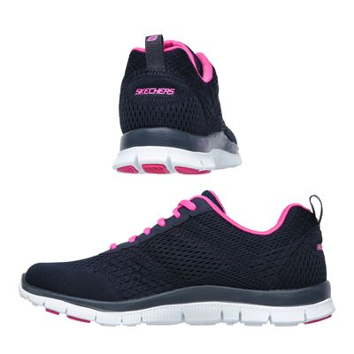 Skechers Sport Flex Appeal Obvious Choice Ladies Running Shoes-Navy-Pink-Images