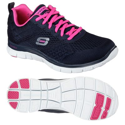 Skechers Sport Flex Appeal Obvious Choice Ladies Running Shoes-Navy-Pink-Main Image