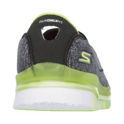 Skechers Go Flex Ladies Running Shoes-Black-Green-Back