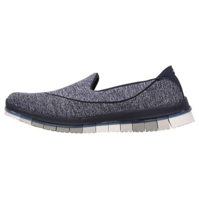 Skechers Go Flex Ladies Running Shoes-Navy-Grey-Side