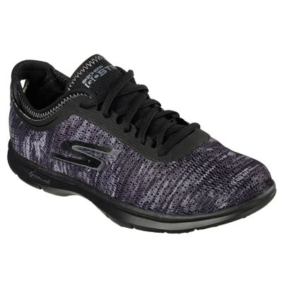Skechers Go Step Ladies Running Shoes-Black-Angled