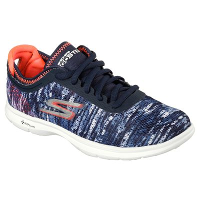 Skechers Go Step Ladies Running Shoes-Navy-Orange-Angled