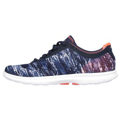 Skechers Go Step Ladies Running Shoes-Navy-Orange-Side