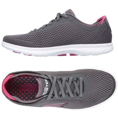 Skechers Go Step Sport Ladies Athletic Shoes - Grey/Pink - Side