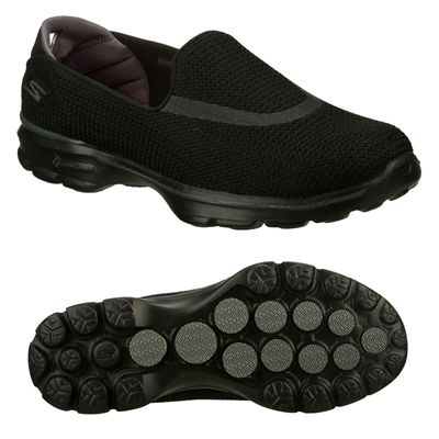 Skechers Go Walk 3 Ladies Walking Shoes-Black-Main Image
