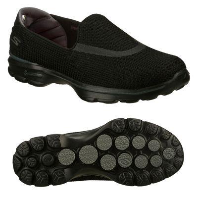Skechers Go Walk 3 Ladies Walking Shoes-Black-Main Image