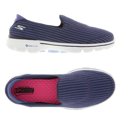 Skechers Go Walk 3 Ladies Walking Shoes-Navy and Blue-Alternative View