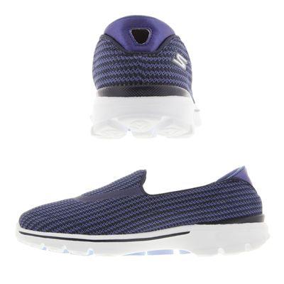 Skechers Go Walk 3 Ladies Walking Shoes-Navy and Blue-Images