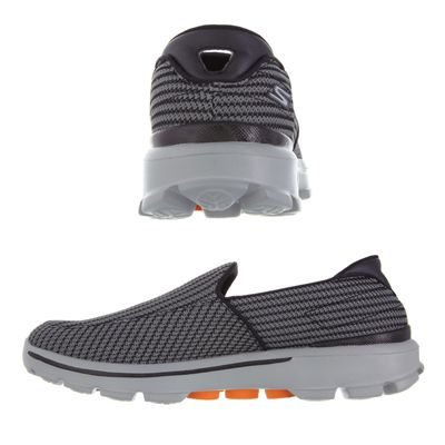 Skechers Go Walk 3 Mens Running Shoes-Grey and Black and Orange-Additional Images