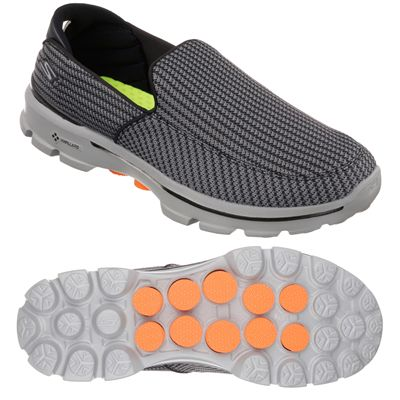 Skechers Go Walk 3 Mens Running Shoes-Grey and Black and Orange-Main Image