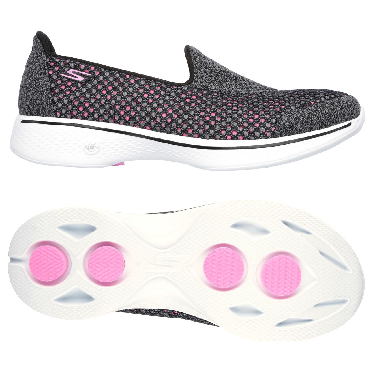 Skechers Go Walk 4 Kindle Ladies Walking Shoes  GreyPink 7.5 UK