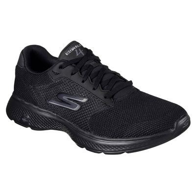 Skechers Go Walk 4 Lace Up Mens Walking Shoes - Black/Angle