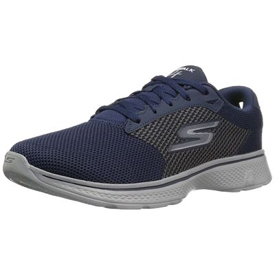 Skechers Go Walk 4 Lace Up Mens Walking Shoes - Navy/Amazon