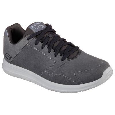 Skechers GoWalk City Retain Mens Walking Shoes-Charcoal-Angled