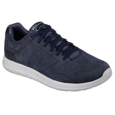 Skechers GoWalk City Retain Mens Walking Shoes-Navy/Grey-Angled
