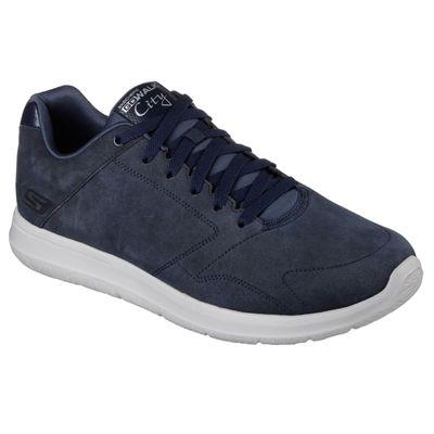 Skechers GoWalk City Retain Mens Walking Shoes-Navy/Grey-Angled