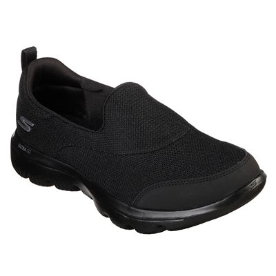 Skechers Go Walk Evolution Ultra Reach Ladies Walking Shoes - Black - Angled