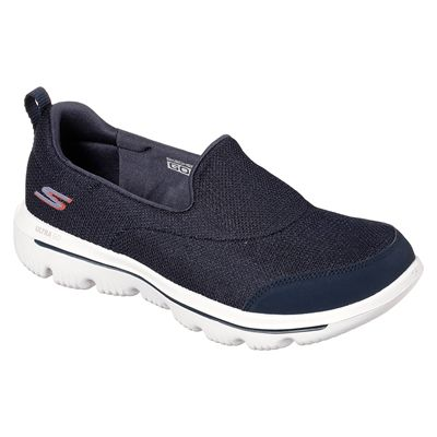 Skechers Go Walk Evolution Ultra Reach Ladies Walking Shoes - Navy - Angled