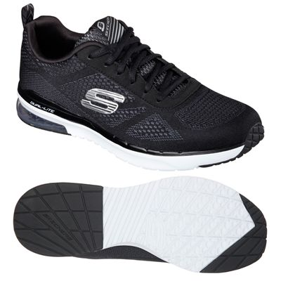 Skechers Sketch Air Infinity Mens Running Shoes-Black and White-Main Image