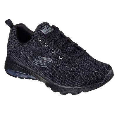 Skechers Sketch Air Extreme Awaken Ladies Walking Shoes-Black-Angled