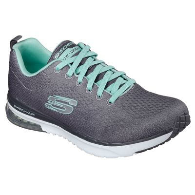 Skechers Sketch-Air Infinity Modern Chick Ladies Walking Shoes-Charcoal-Angled