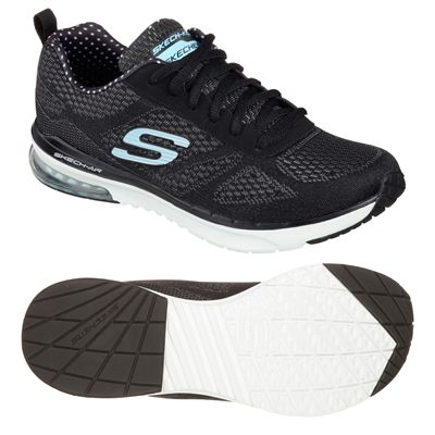 Skechers Sketch Air Infinity Ladies Running Shoes-Black and White-Main Image