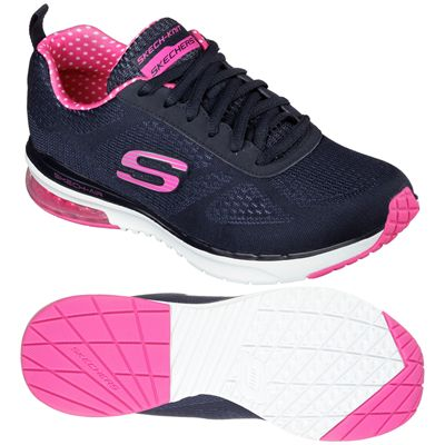 Skechers Sketch Air Infinity Ladies Running Shoes-Navy and Pink-Main Image