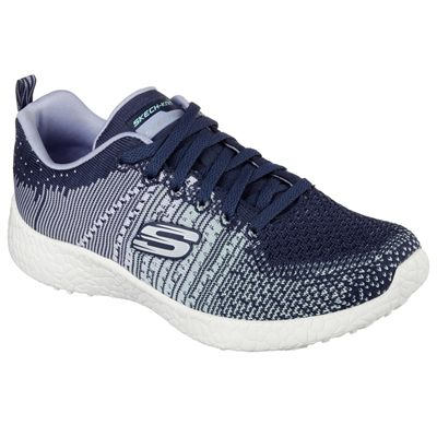 Skechers Sport Burst Ellipse Ladies Running Shoes-Navy-Angled