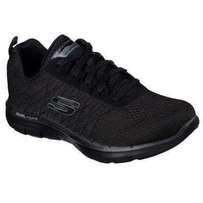 Skechers Sport Flex Appeal 2.0 Break Free Ladies Walking Shoes-Black-Angled