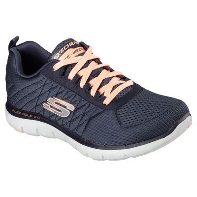 Skechers Sport Flex Appeal 2.0 Break Free Ladies Walking Shoes-Charcoal-Angled