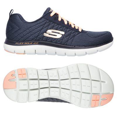 Skechers Sport Flex Appeal 2.0 Break Free Ladies Walking Shoes-Charcoal
