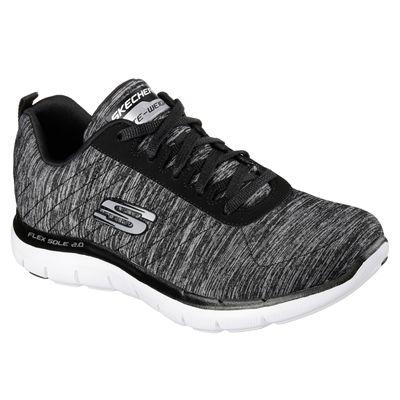 Skechers Sport Flex Appeal 2.0 Ladies Walking Shoes-Black-White-Angled