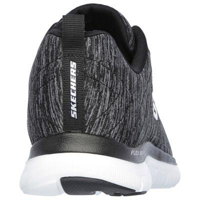 Skechers Sport Flex Appeal 2.0 Ladies Walking Shoes-Black-White-Back