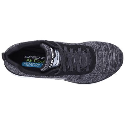 Skechers Sport Flex Appeal 2.0 Ladies Walking Shoes-Black-White-Top