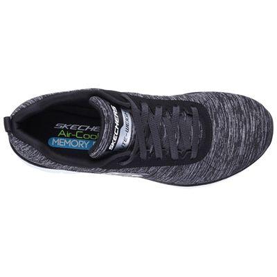 Skechers Sport Flex Appeal 2.0 Ladies Walking Shoes-Black-White-Top